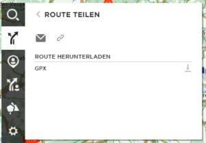 Route als gpx exportieren